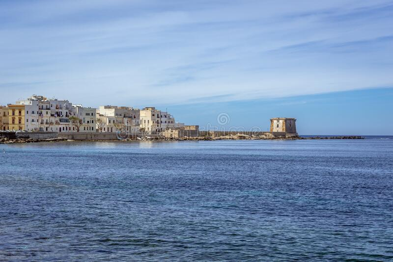 Trapani city in Sicily. View from Tramontana Walls with Conca Bastion and Ligny Tower in Trapani, Sicily Island in Italy, bastione, torre, di, mura, old royalty free stock images