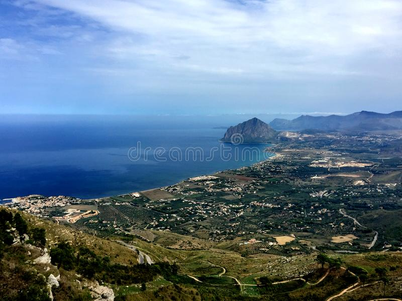 Trapani, Erice, Sicily, mount Cofano. View towards Monte Cofano from the historic village of Erice in Sicily, Trapani, Italy stock photo