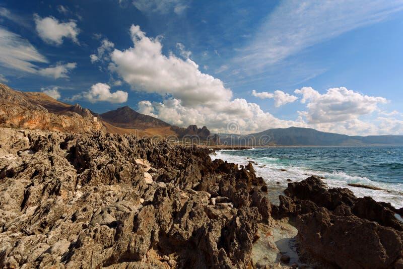 Trapani province, Sicily, Italy - Sea bay and beach view from coastline between San Vito lo Capo and Scopello. The old frozen lav. Trapani province, Sicily stock photo