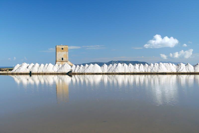 Trapani salt flats royalty free stock images