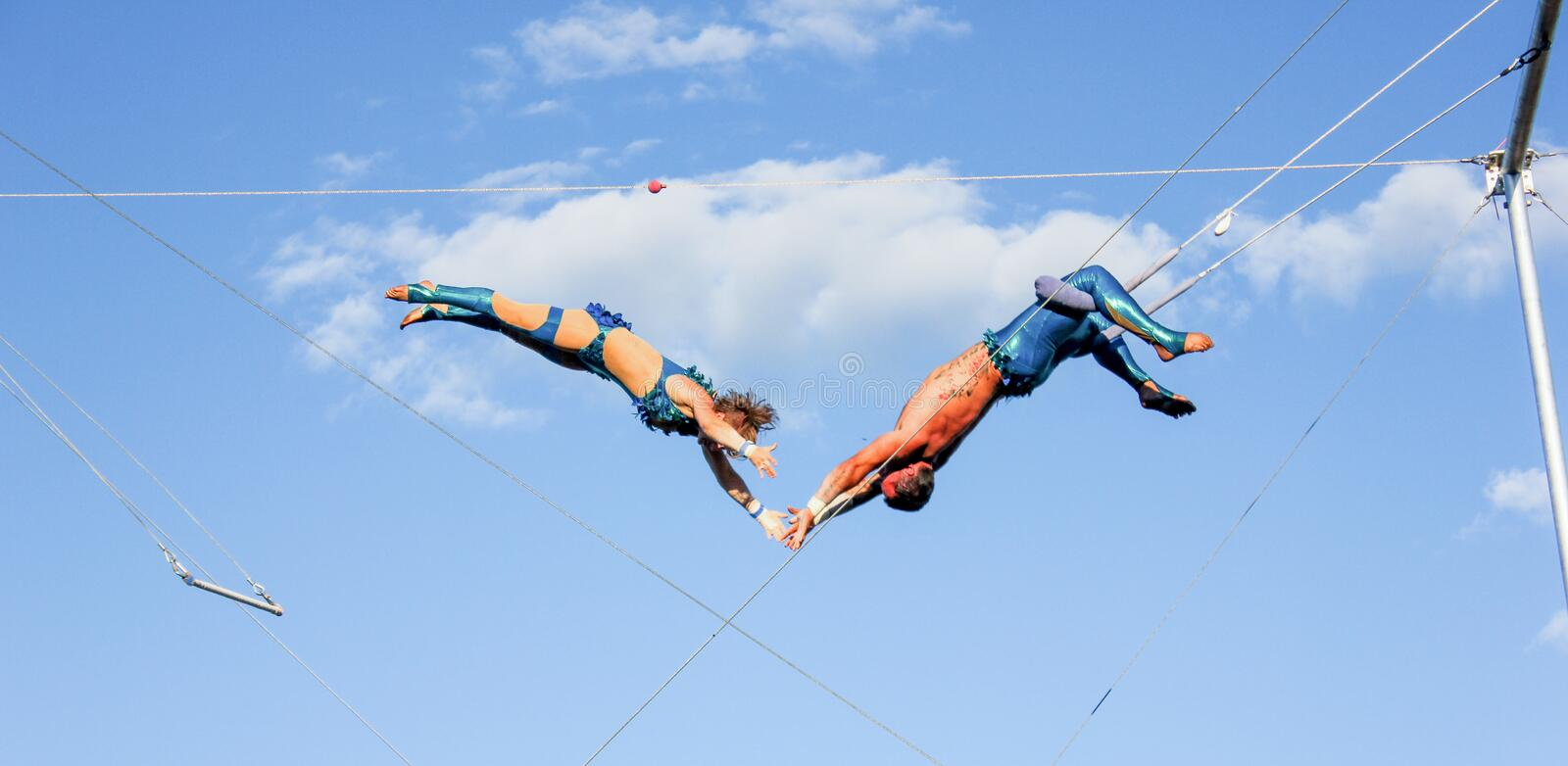 Trapeze spectacle outdoor Montreal royalty free stock images