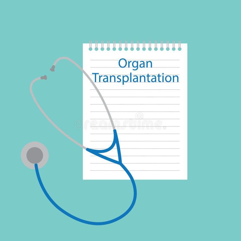Trapianto dell'organo scritto in un taccuino illustrazione di stock