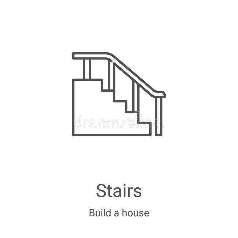 traplopikoon vector van het bouwen van een huisinzameling De dun lijntrappen schetsen pictogramvectorillustratie Lineair symbool  vector illustratie