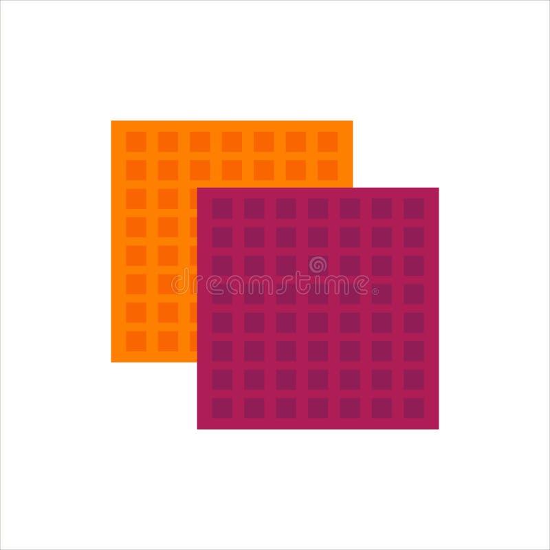 Trapo plano del logotipo del icono de las esponjas de celulosa aislado en el fondo blanco Limpie el objeto, herramienta del equip stock de ilustración