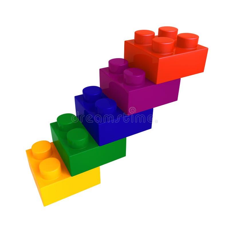trappa för blockfärglego royaltyfri illustrationer