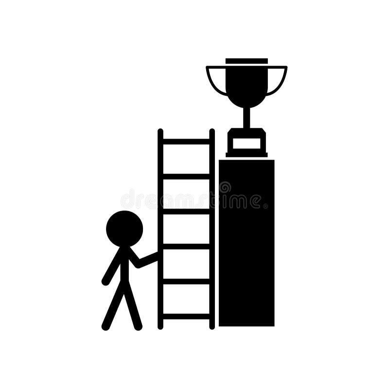 Trappa framgång, mål, koppsymbol Kan användas för rengöringsduken, logoen, den mobila appen, UI, UX vektor illustrationer