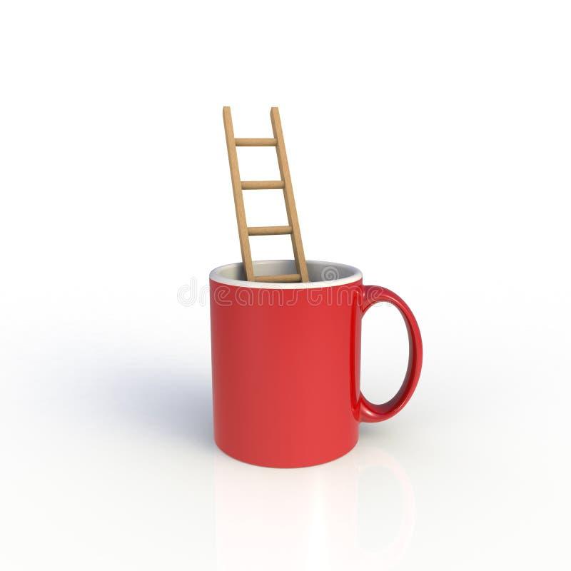 Trappa i den röda kaffekoppen som isoleras på vit bakgrund vektor illustrationer