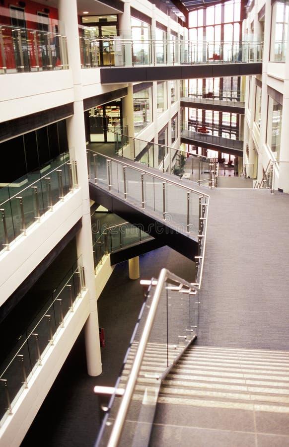 Trappa och hall i universitetarbyggnad royaltyfria foton