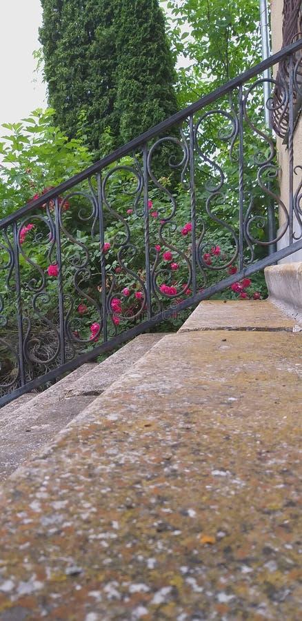 trappa runt om hus royaltyfria bilder