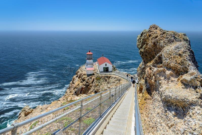 Trappa som pekar Reyes Lighthouse royaltyfri fotografi