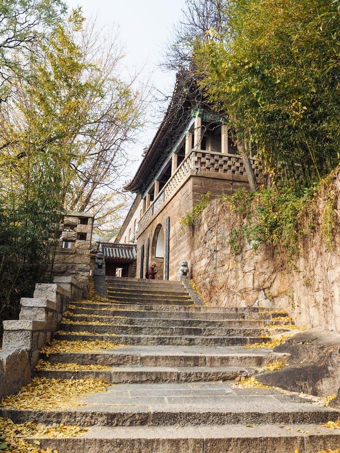 Trappa som upp till leder den Huayan templet royaltyfri bild