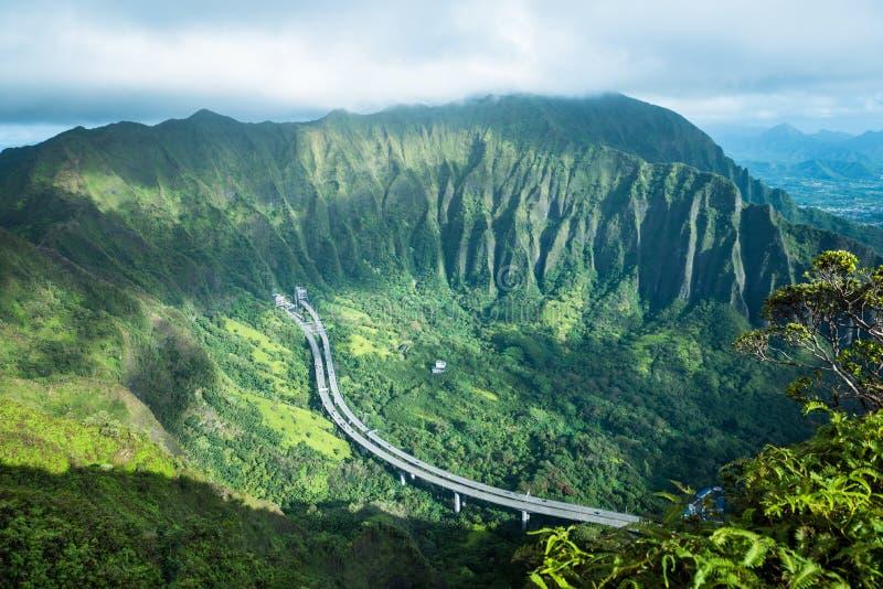 Trappa till himmel i den Oahu ön Hawaii arkivbilder