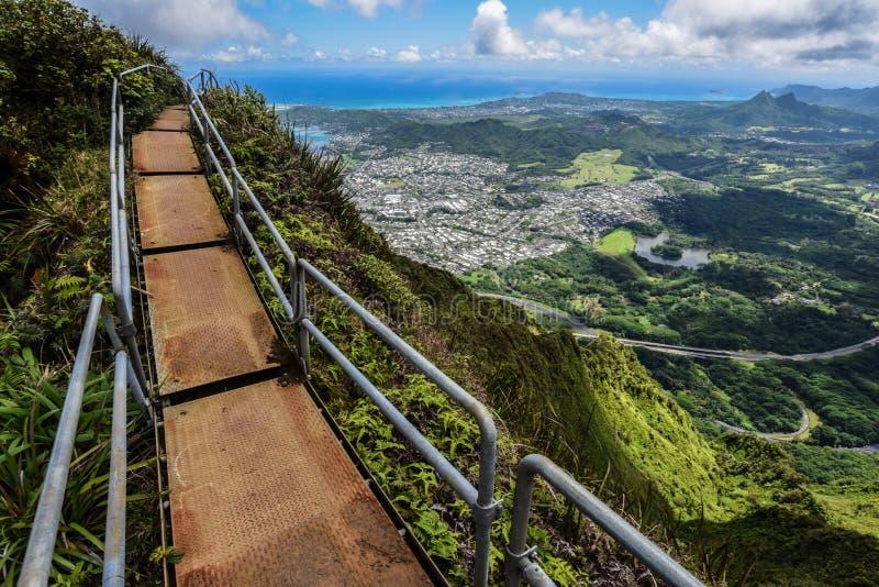 Trappa till himmel, Oahu, Hawaii royaltyfri fotografi
