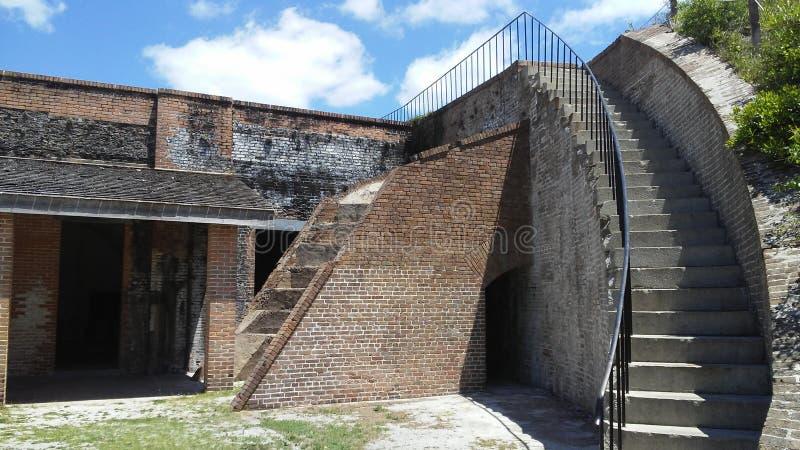 Trappa till ingenstans, fort Pickens, Pensacola, Florida, USA royaltyfri bild