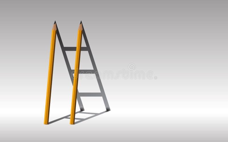 trappaframgång till gulna två blyertspennor och skugga trappuppgången, , arkivfoto