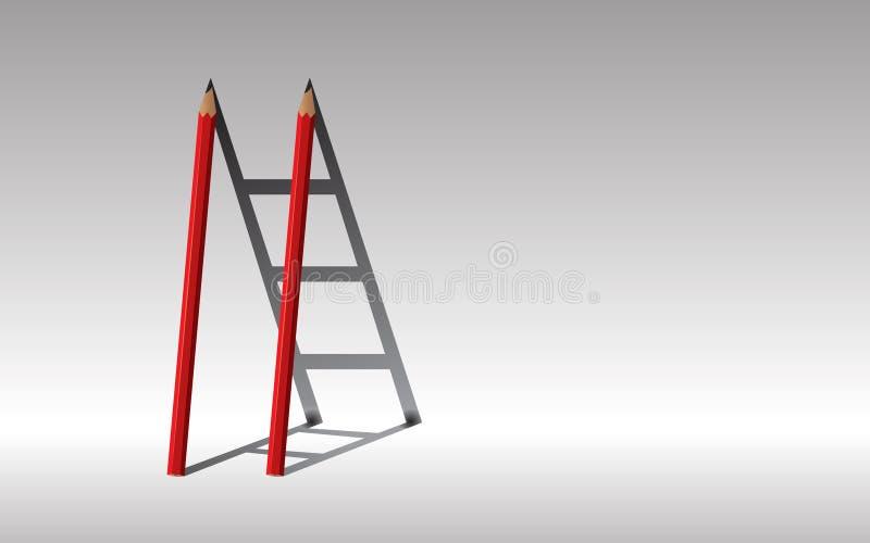 trappaframgång till , Röda två blyertspennor och skuggatrappuppgång , Betesmark royaltyfri foto