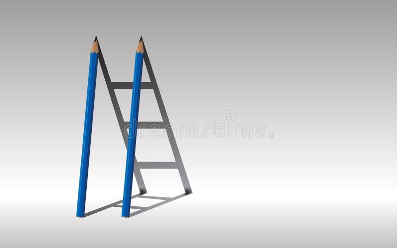 trappaframgång till Slösa två blyertspennor och skugga trappuppgången, , Le arkivbilder