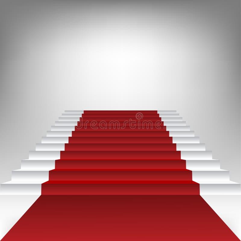 Trappan med rött mattar vektor illustrationer