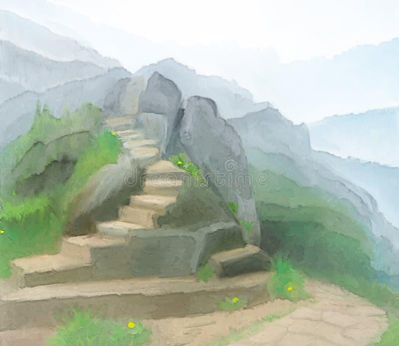 Trappan up de dimmiga bergen Digital dra royaltyfri illustrationer