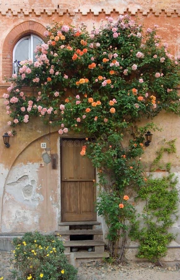 Trappe avec des roses photo stock