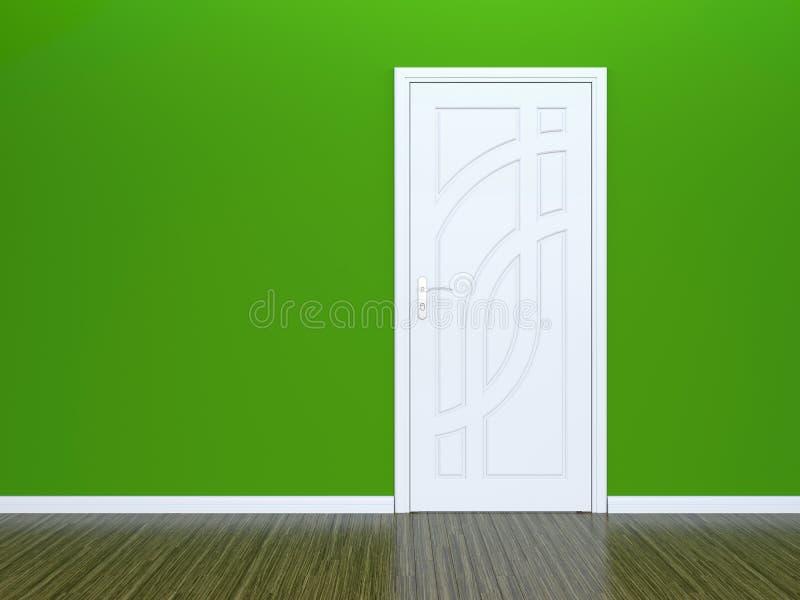 Trappe blanche et mur vert illustration libre de droits