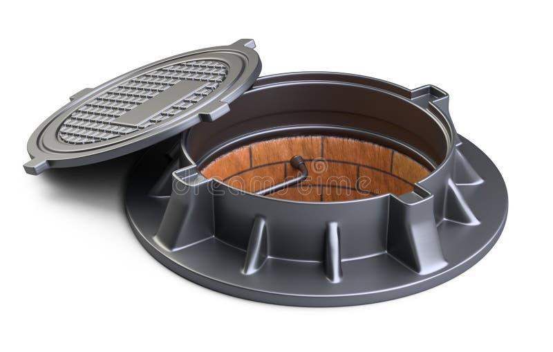 Trappe d'égout avec des étapes ouvertes de couverture et en métal de trou de trou d'homme de couvercle illustration de vecteur