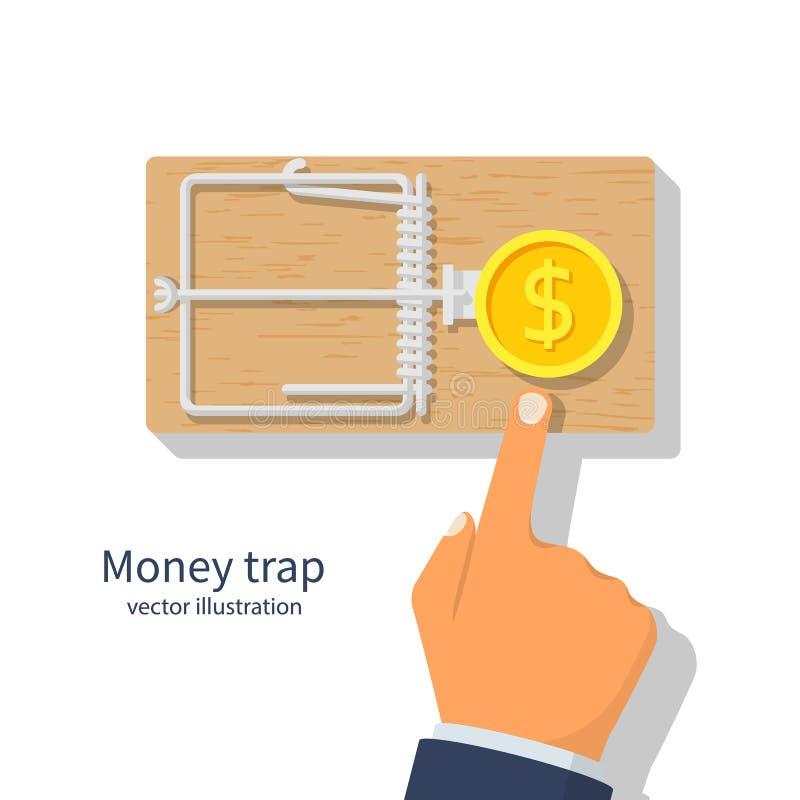 Trappe d'argent Souricière à clapet avec la pièce de monnaie d'or du dollar illustration de vecteur
