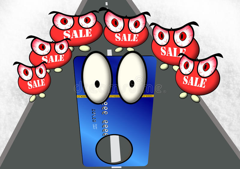 A trapped credit card. A credit card trapped by the angry sale figures stock illustration