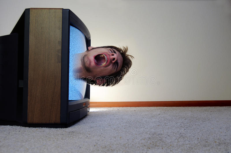 Download Trapped inside of the TV stock photo. Image of screen - 16287364