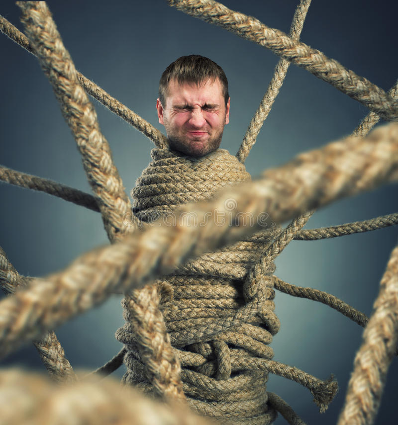 Trapped man royalty free stock photo