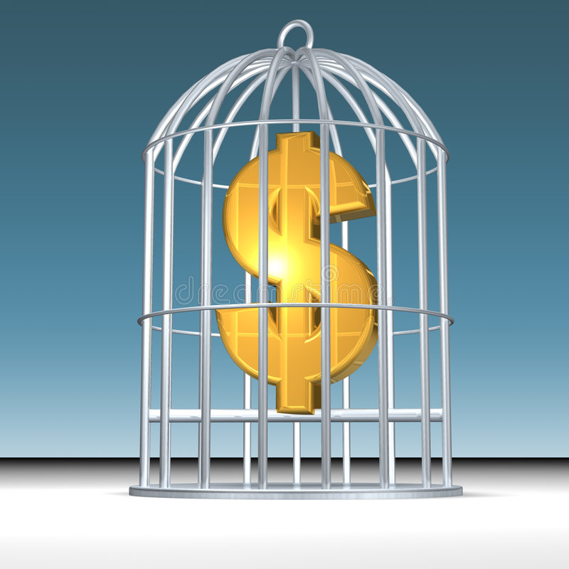 Trapped money stock illustration