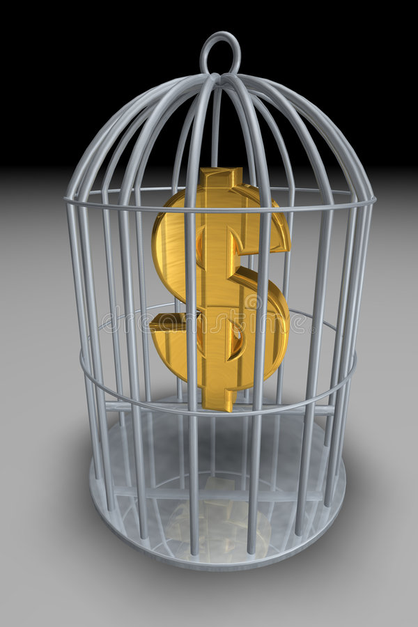 Trapped money royalty free illustration