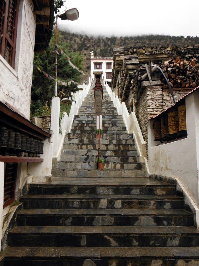 Trappen aan een Boeddhistische Himalayan Monastary in Moesson stock afbeelding