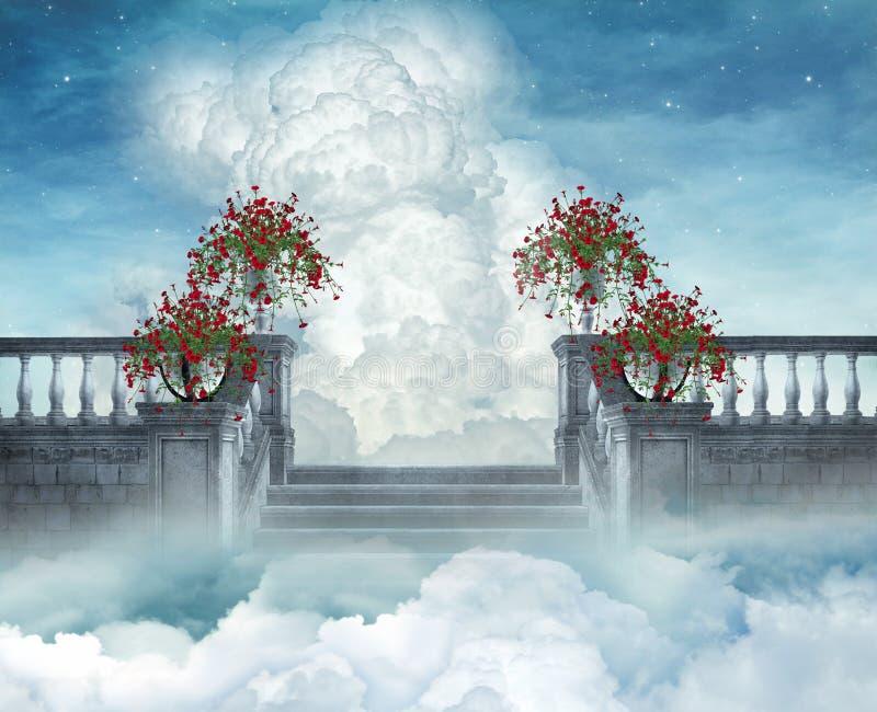 Trappen aan hemel royalty-vrije illustratie
