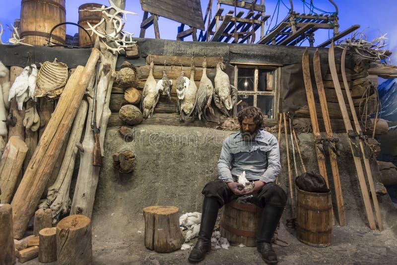 Trapperkabine am polaren Museum Tromsø lizenzfreie stockbilder