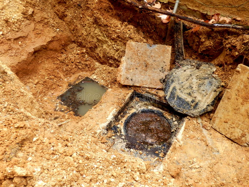 Trappes d'inspection de fosse septique photographie stock libre de droits