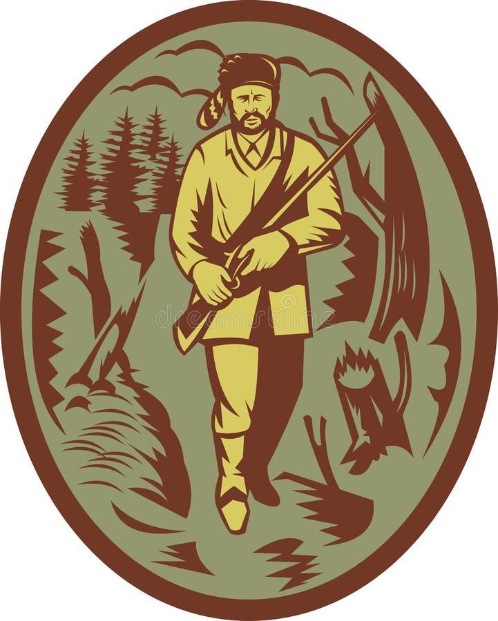 Trappeur pionnier de chasseur avec le fusil illustration stock