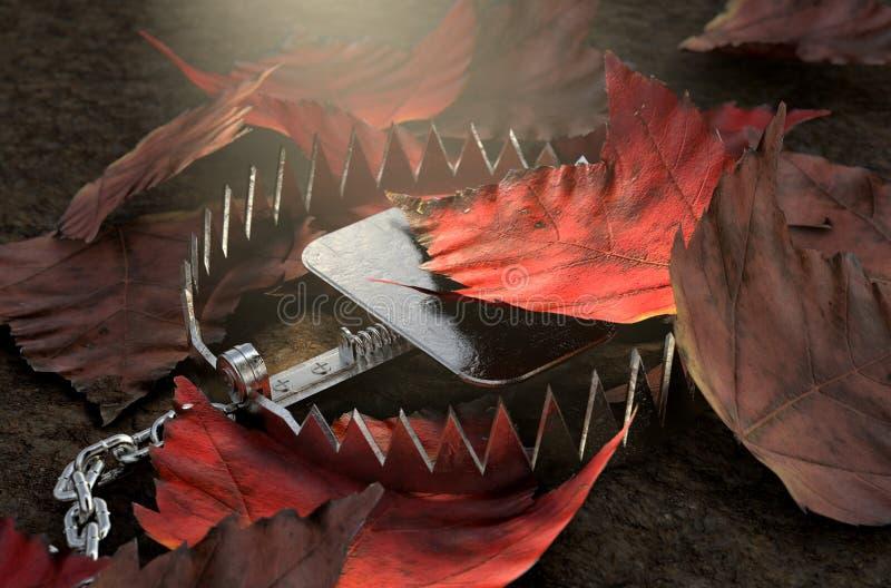 Trappola animale in foglie royalty illustrazione gratis