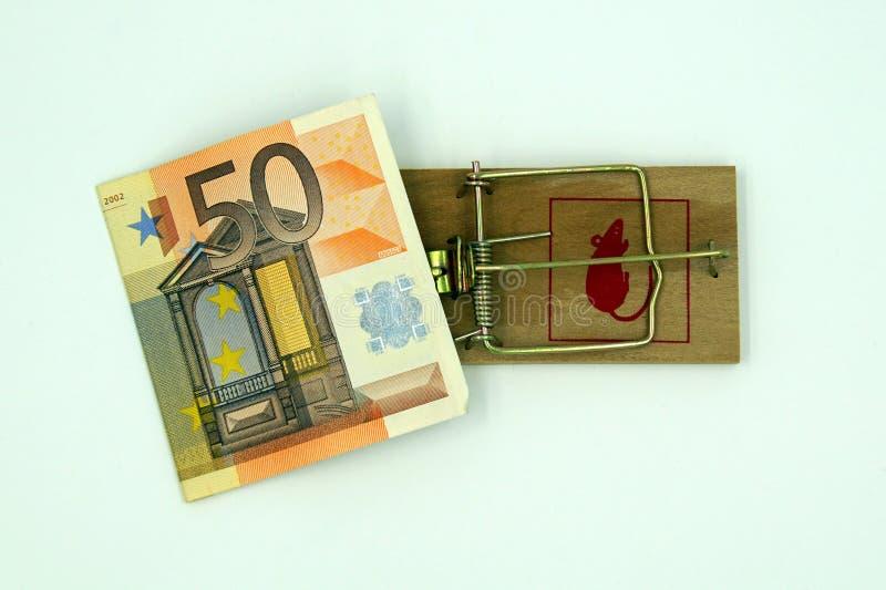 Trappola del topo con la nota dell'euro 50 immagine stock
