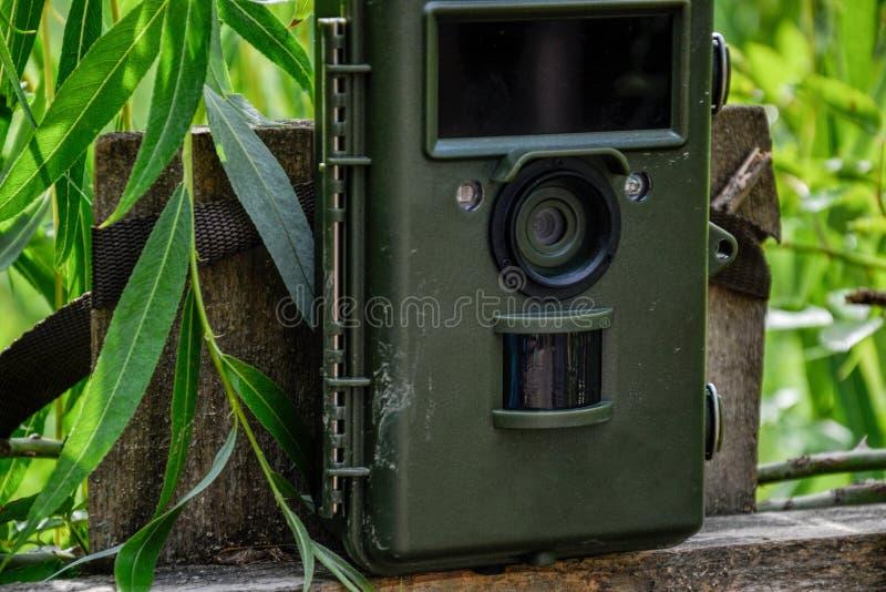 Trappola della macchina fotografica con il rivelatore di moto e della luce infrarossa allegato con le cinghie su un recinto di le immagine stock