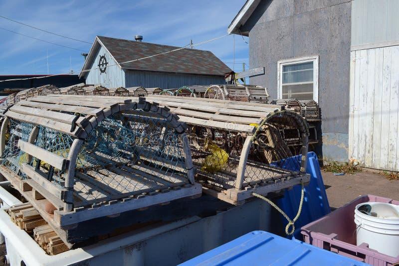 Trappole dell'aragosta sul bacino in Cavendish, PEI fotografia stock