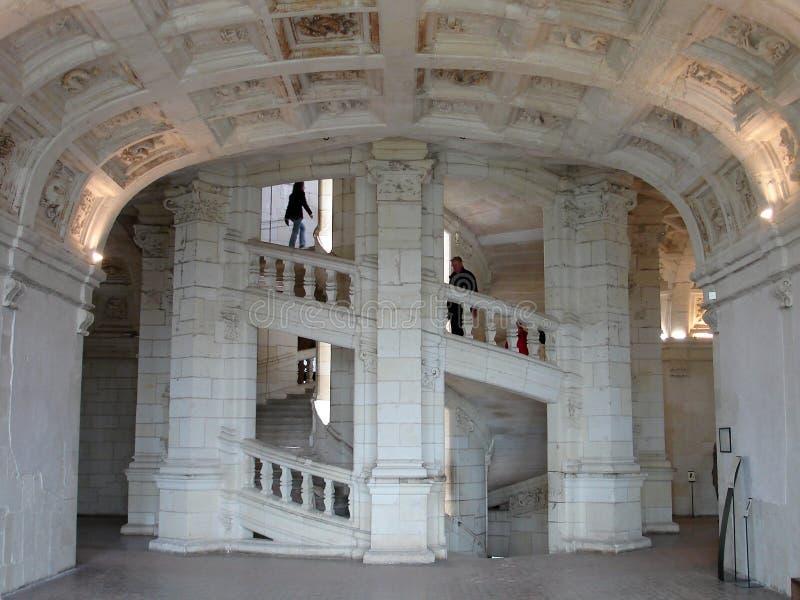 Trappuppgång Chambord för dubbel spiral arkivfoto