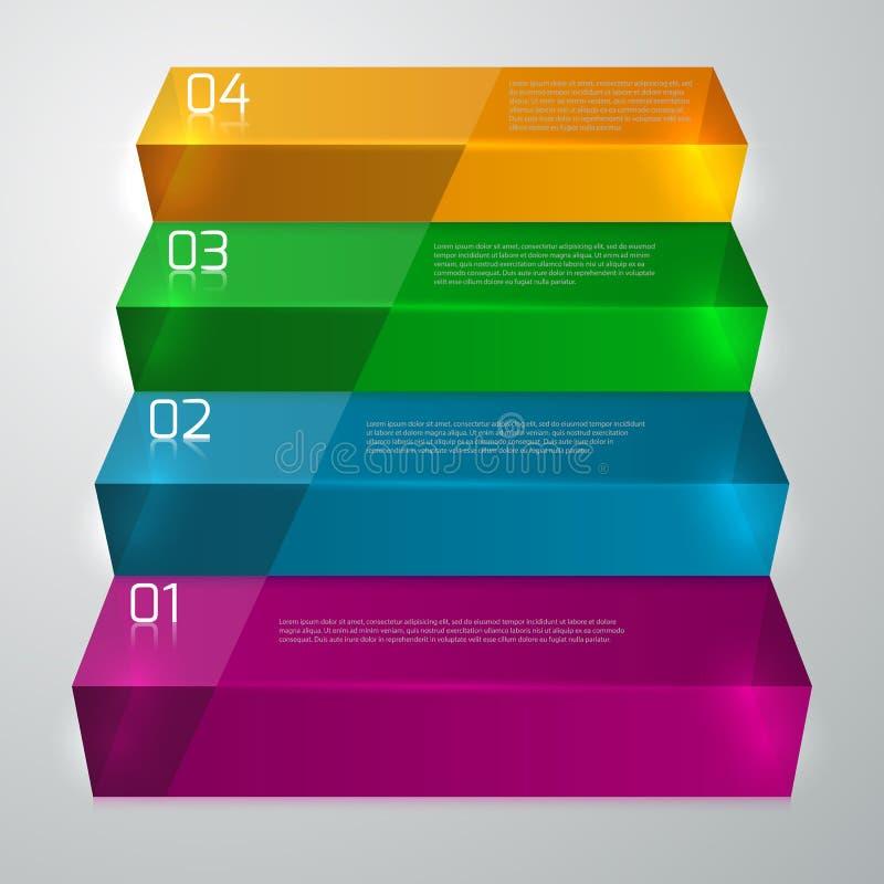 Trappuppgång för exponeringsglas för vektorillustrationinfographics vektor illustrationer