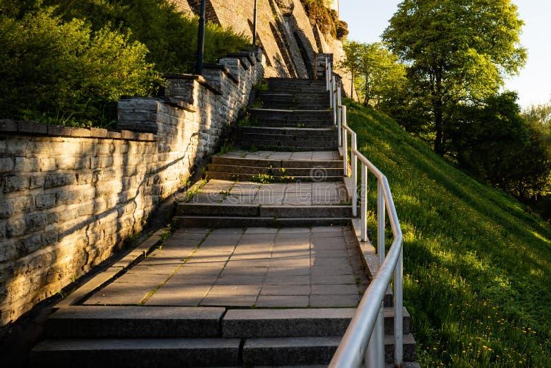 Trappuppgång i gammal stad av Tallinn, Estland arkivbilder