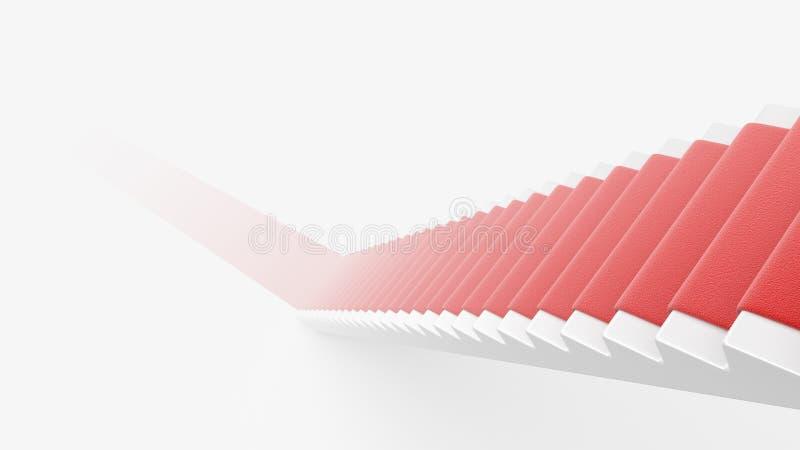 Trappuppgång med röd matta 3D. Begrepp av framgång stock illustrationer