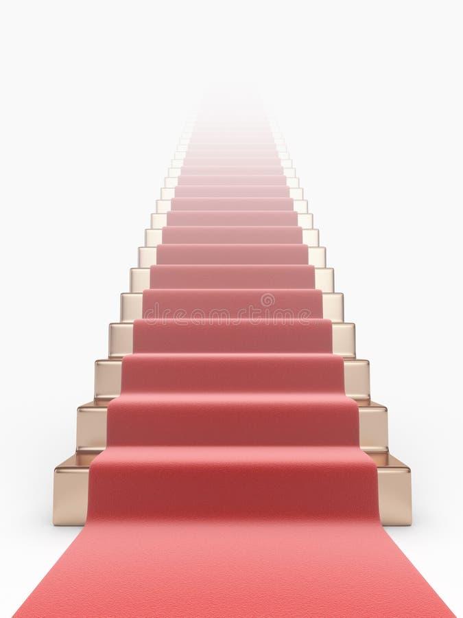 Trappuppgång med röd matta 3D. Begrepp av framgång vektor illustrationer