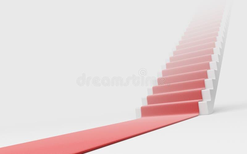 Trappuppgång med röd matta 3D. Framgång royaltyfri illustrationer