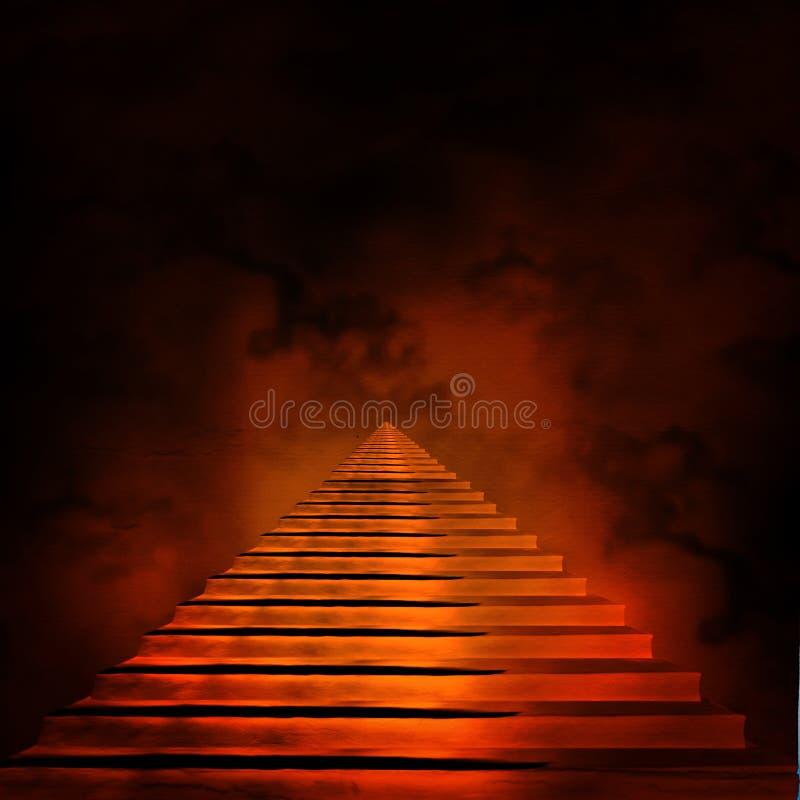 Trappuppgång som för till himmel eller helvete stock illustrationer