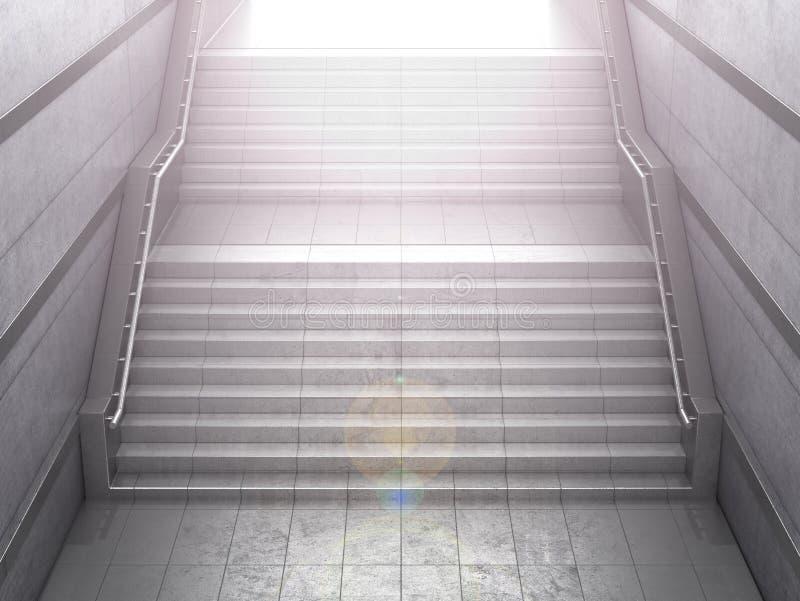 Trappuppgång som leder från en konkret gångtunnel Begreppet av framgång illustration 3d fotografering för bildbyråer
