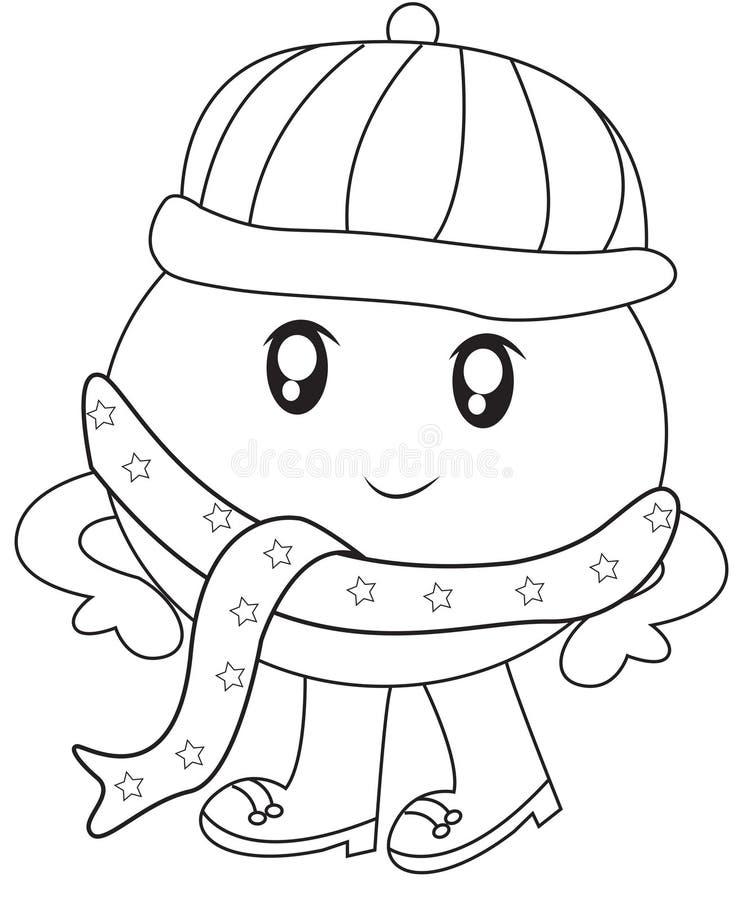 Trapu bossu avec une page de coloration d'écharpe illustration stock